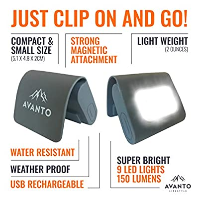 AVANTO Magnetic Clip Light, Running and Camping Light, USB Rechargeable LED, Small and Lightweight Addon to Reflective Running Gear