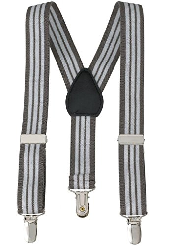 Suspenders for Kids - 1 Inch Suspender Perfect for Tuxedo- Grey and White Striped - (26