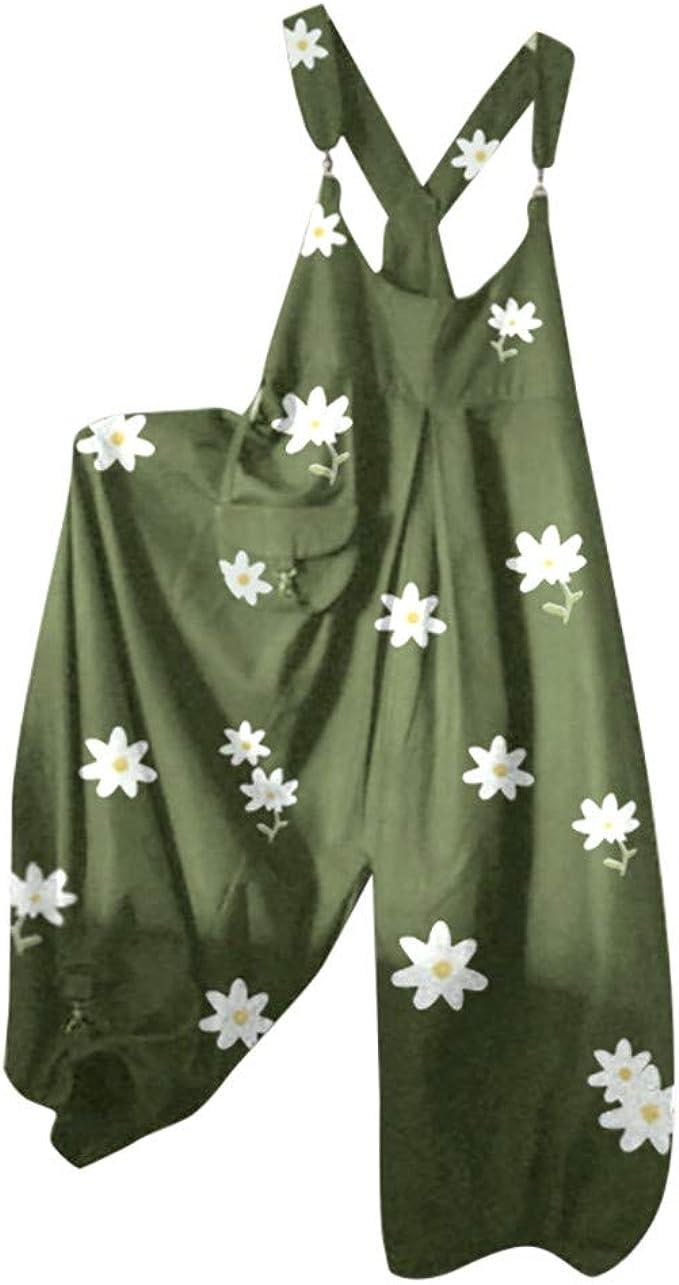 VEMOW Damen Jumpsuits mit Gänseblümchen Locker Overalls Weite Hose