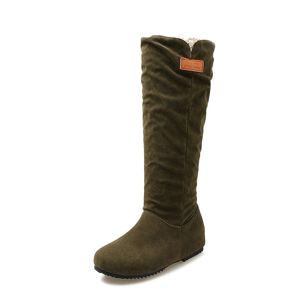 Vert DYF Chaussures Bottes Femmes Grande Taille à Fond Plat de Couleur Solide de Grande Taille en Peluche 37 EU