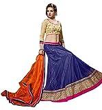 Vibes Women's Net Un-Stitched Party Wear Lehenga Choli Free Size Blue