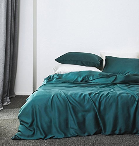 Solid Color Egyptian Cotton Duvet Cover Luxury Bedding Set High Thread Count Long Staple Sateen Weave Silky Soft Breathable Pima Quality Bed Linen (Queen, Vibrant Peacock) (Cover Teal Duvet)