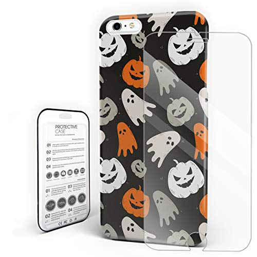 Compatible with iPhone 6 Plus, iPhone 6s Plus Case - Happy Halloween Cute Ghost and Pumkin Slim Fit Hard PC Shell Anti-Scratch Back Phone Cover [with Tempered Glass Screen Protector]