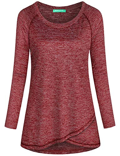 Kimmery Active Tops for Women, Loose Long Sleeve Running Tennis Volleyball Exercise Shirts Scoop Neck Elegant Cute Stylish Performance Clothes Durable Slenderizing Silhouette Casual Wear Red Medium