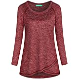 Kimmery Woman Raglan Sleeve Round Neck Irregular Hem Yoga Workout Shirt