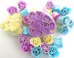 Mothers Rose gift, Charming Rose Scent Bath Bomb, 18 Colorful Rose Flower with Heart Gift Box. 9 Purple+6 Yellow+3 Bule