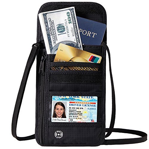 DEW Travel Passport Holder Stash Hidden Neck Pouch RFID Blocking Travel Anti-Theft Hidden Wallet (Neck Pocket)