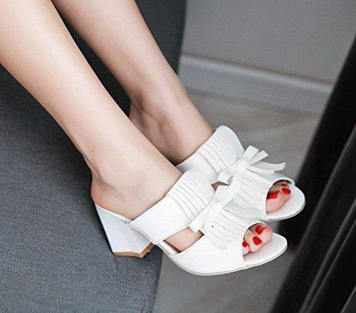 Carolbar Womens Bowknots Patent Leather Tassels Fashion Chunky Mid Heel Sandals Slippers White 0tKhr