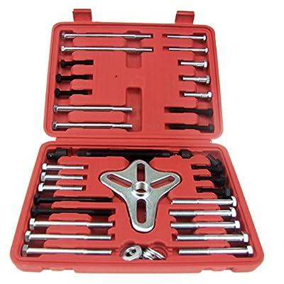 HFS (R) 46 Pcs Harmonic Balancer Puller - Gear Puller, Crank Shaft Pulley, Steering Wheel Kit Pulley Yoke Crank, Storage Case: Home Improvement