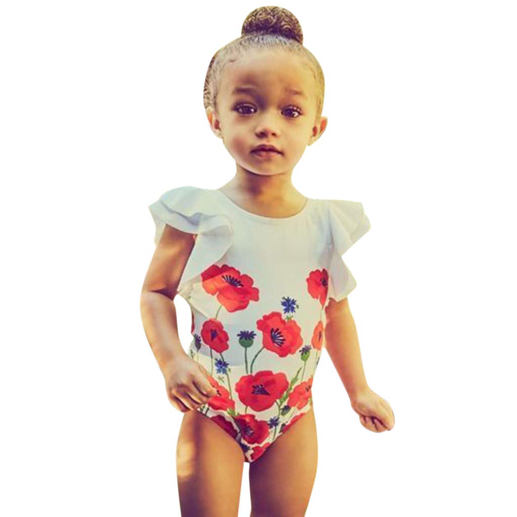 Kids Girl's Swimwear Ruffle Fly Sleeve Floral Printed Romper Beachwear One-Piece (Red, Recommended Age:1-2 Years)