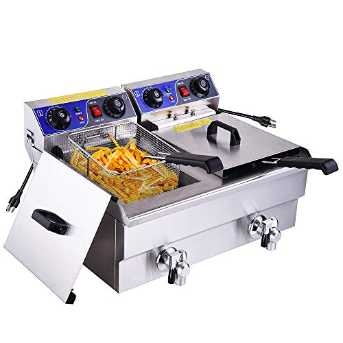 WeChef 23.4L Commercial Electric Deep Fryer Dual Tanks with Timers Drains Reset Button French Fry Restaurant Home