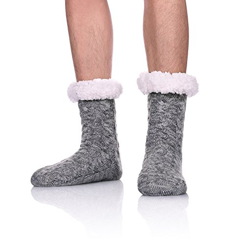 SDBING Mens Super Soft Warm Cozy Fuzzy Fleece-lined Winter Christmas gift With Grips Slipper socks (Gray) ()