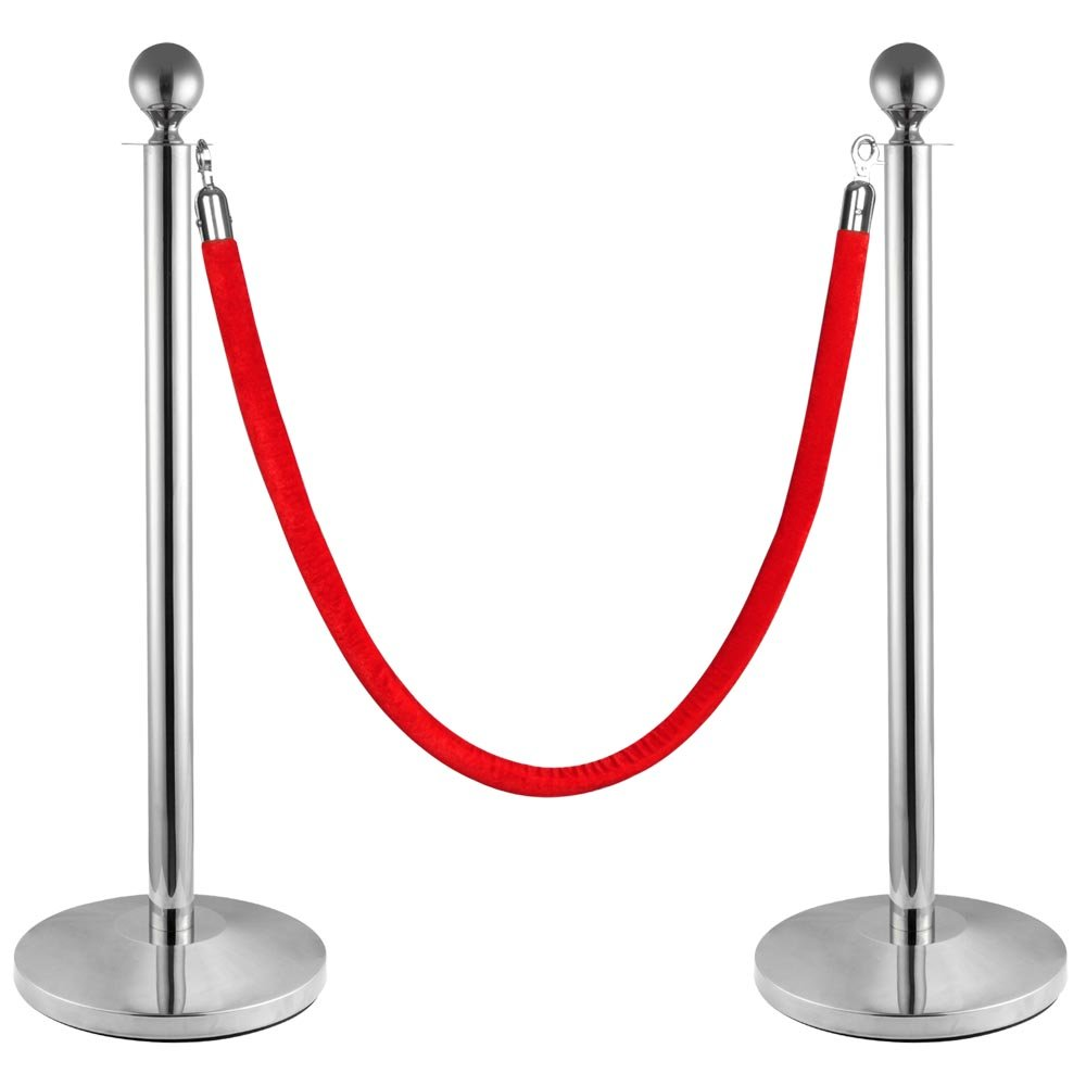2pcs Ball Top Stainless Steel Crowd Control Stanchions Velvet Rope Barrier 22lbs