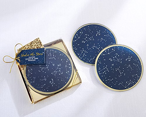 75 SETS of 2 Under the Stars Glass Coasters