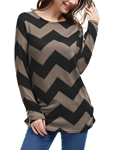 Allegra K Women's Zig-Zag Pattern Relax Fit Christmas Knit Tunic L Black Brown from Allegra K