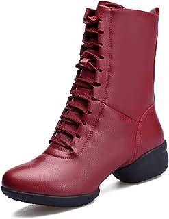 Mzq-yq Chaussures de Danse Moderne Chaussures en Cuir, Sangle et Fermeture éclair Design pour Femmes léger, Confortable et Doux