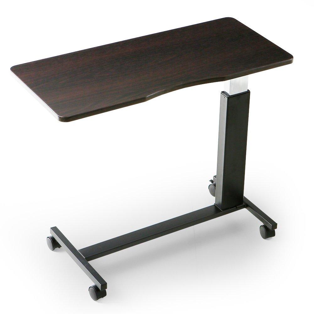 LOWYA (ロウヤ) テーブル ベッドテーブル ガス圧 昇降 66~90cm キャスター付 介護 サイドテーブル ブラウン ブラック おしゃれ 新生活 B01EH0EJMS  ブラウン×ブラック脚