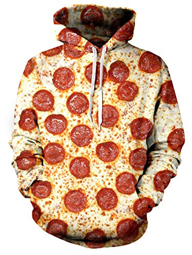 TUONROAD Funny Unisex Digital Print Hooded Pullover Yellow Pizza Multi Circle Red Bacon Tomato 3D Cool Carton Hoodies Big and Tall Plus Size Athletic Tops Sweatshirt with Kangaroo Pockets ()