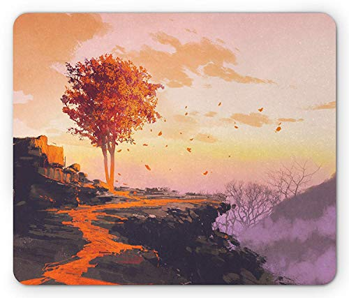 Fantasy Mouse Pad, Fantastic Autumn Tree with Shady Falling Leaves in Wind on Top of Mountain Art, Standard Size Rectangle Non-Slip Rubber Mousepad, Orange Purple ()