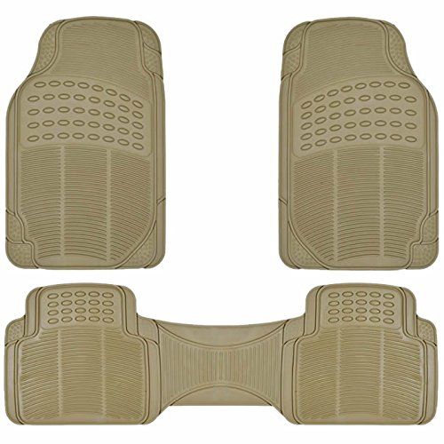 U.A.A. Inc. MT-9002BG All weather Front Rear Runner Rubber Floor Mats Beige
