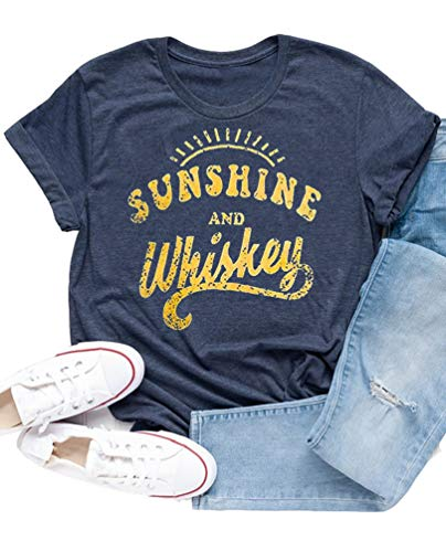 Enmeng Womens Sunshine and Whiskey T-Shirt Casual Beach Country Music Party Drinking Tees (2XL, Navy) ()