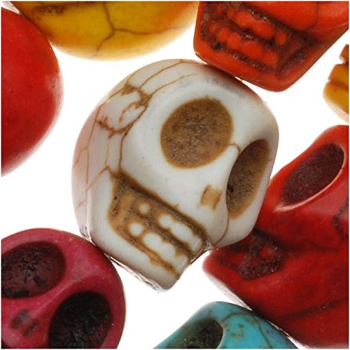 (Beadaholique SPMX-91 20 Bright Color Mix Dyed Stone Carved Skull Beads, 12mm )