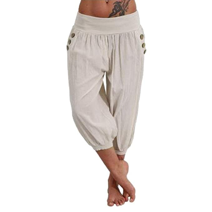 42196f600 Mujer Pantalones Harem Verano Elegantes Moda Casual Pantalon Pirata ...