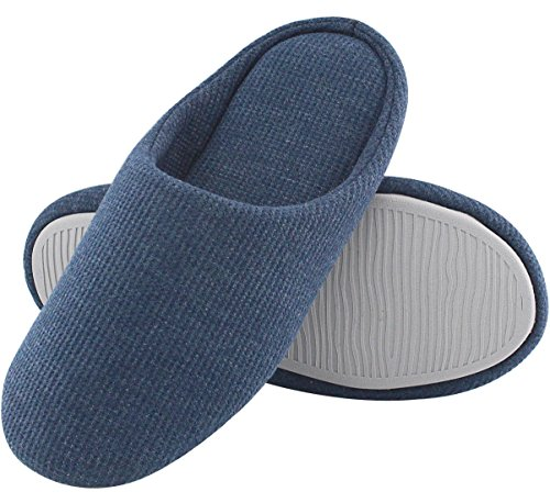 Women's Comfort Knitted Cotton Slippers Washable Flat Closed Toe Ultra Lightweight Indoor Shoes with Non-Slip Sole (L /9-10 B(M) US, Navy Blue)