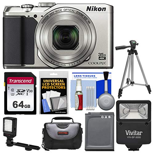 (Nikon Coolpix A900 4K Wi-Fi Digital Camera (Silver) with 64GB Card + Case + Flash + Video Light + Battery + Tripod +)