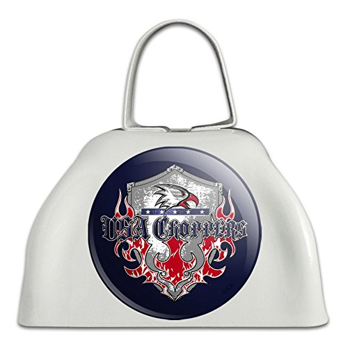 - USA Choppers Shield Flames Eagle American Motorcycle Biker White Metal Cowbell Cow Bell Instrument