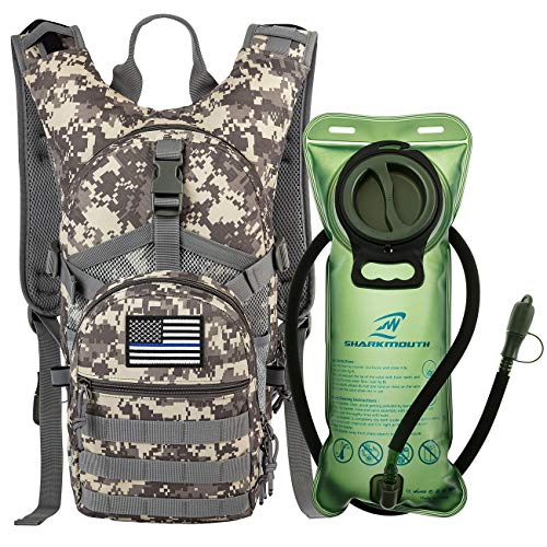 SHARKMOUTH Tactical MOLLE Hydration Pack Backpack 900D 2L Leak-Proof Water Bladder, Keep Liquids Cool Up to 4 Hours, Outdoor Daypack Hiking, Running, Hunting, USA Flag Patch, Camo