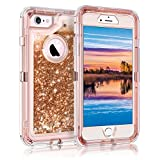 "iPhone 6S Plus Case, Coolden Bling Glitter Liquid Case for Girls Women Ultra-Protective Heavy Duty Case with Hard PC Frame & Soft TPU Back for 5.5"" iPhone 6 Plus 6S Plus 7 Plus 8 Plus, Rose Gold"