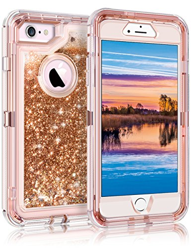 "iPhone 6S Case, iPhone 6 Case, Coolden Glitter Cute Phone Case Girls Bling Sparkle Dual Layer Shockproof Liquid Case with Hard PC Bumper + Soft TPU Back for 4.7"" Apple iPhone 6/6S/7/8 – Light Coffee"