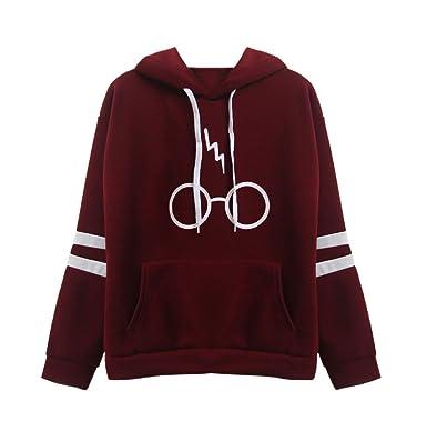 Mujeres Sudaderas con Capucha Manga Larga Varsity Gafas de Harry Potter Encapuchado Camisa de Entrenamiento Tops Camisetas Blusa Casual Deportes Sweatshirt ...