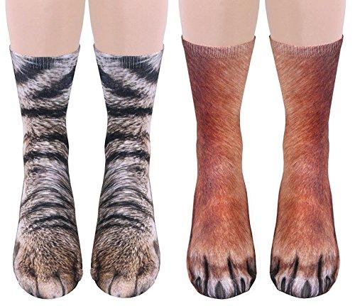 2 Pairs 3D Socks Unisex Adult Big Kids Animal Paw Crew Socks - Sublimated Print -