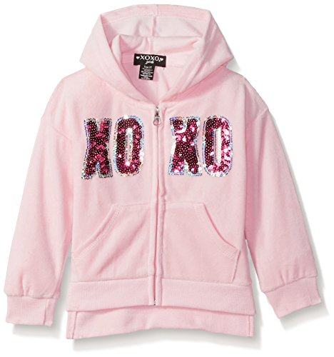 XOXO Toddler Girls' Velour Zip Front Jacket, Rose Quartz, 3T