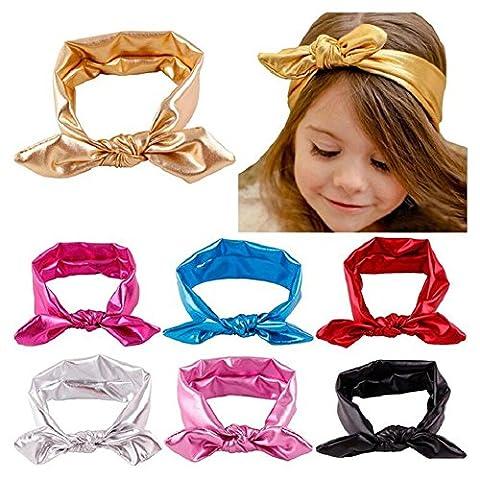 7 Pack Metallic Messy Bunny Rabbit Ear Hair Hoops Big Bow Baby Girls Elasticity Headband Kids Cloth Turban Knot Hairband - Metallic Knot