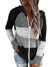 KINGFEN Lightweight Sweaters for Women Long Sleeve Striped Tops Knit Color Block Hoodies