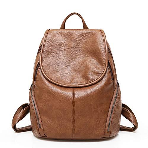 Estudiante Viaje Cuero Brown Bolsa Mochila Pu La De Weatly qax0Xn
