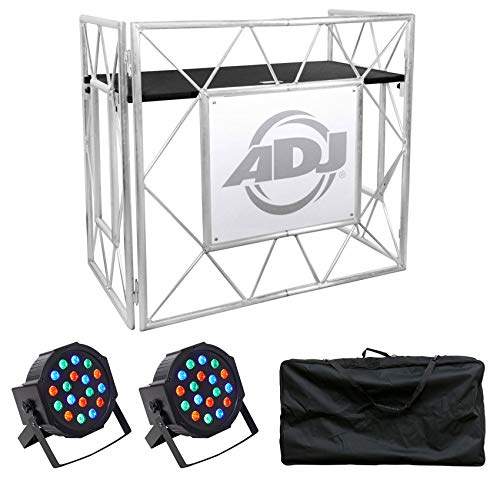American DJ Pro Event Table II Metal DJ Booth Truss Facade+Carry Case+Par Lights