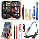 ETEPON Soldering Iron Kit 60W Adjustable Temperature Digital Multimeter, Soldering Stand, Desoldering Pump, 2 Electronic Wire, Stripper Cutter, 2pcs Soldering Tips, Tweezers, Screwdrivers ET002