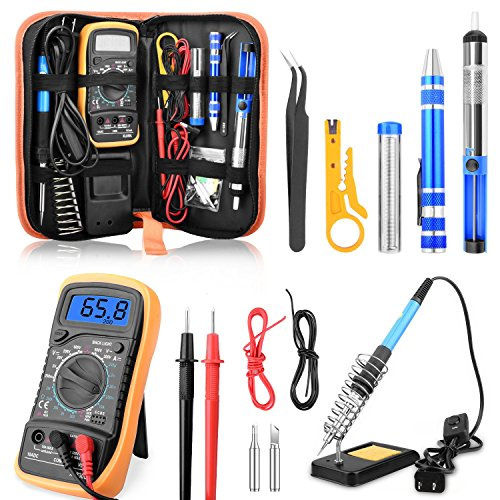 ETEPON Soldering Iron Kit 60W Adjustable Temperature Digital Multimeter, Soldering Stand, Desoldering Pump, 2 Electronic Wire, Stripper Cutter, 2pcs Soldering Tips, Tweezers, Screwdrivers ET002 -