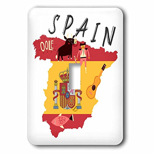 3dRose TNMGraphics Countries - Map of Spain With Flag and Icons - Light Switch Covers - single toggle switch (lsp_286294_1) by 3dRose