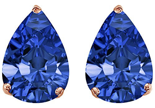4.5 Ct Rose (Simulated Blue Sapphire Pear Shape Stud Earrings In 14K Rose Gold Over Sterling Silver (4.5 Ct))