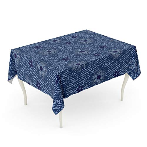 - Tarolo Rectangle Tablecloth 60 x 90 Inch Indigo Blue Jeans Flowers Daisies Denim Floral Abstract Canvas Classic Color Cosmos Table Cloth