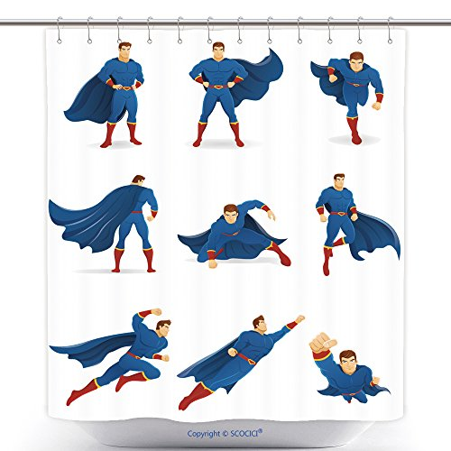 All Spiderman Costumes In Lego Marvel Superheroes (Antibacterial Shower Curtains Superhero In Action Set Of Superhero Character In Different Poses With Blue Cape And Blue Suit 357063362 Polyester Bathroom Shower Curtain Set With Hooks)