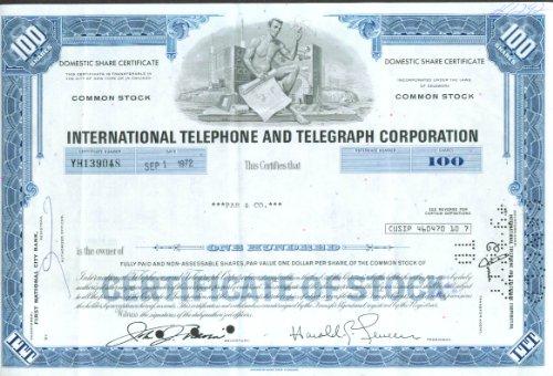 (International Telephone & Telegraph Stock Cert 1972)