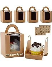 DesertBoy 20 stuks Enkele Cupcake Dozen Cupcake-Geschenkdozen met Venster met 2 stuks Bedankt sticker voor cupcakes, koekjes, desserts (9,5x9,5x11cm)