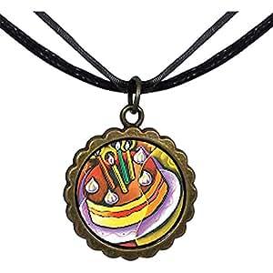 Chicforest Bronze Retro Style Cubist Birthday Cake Round Flower Pendant