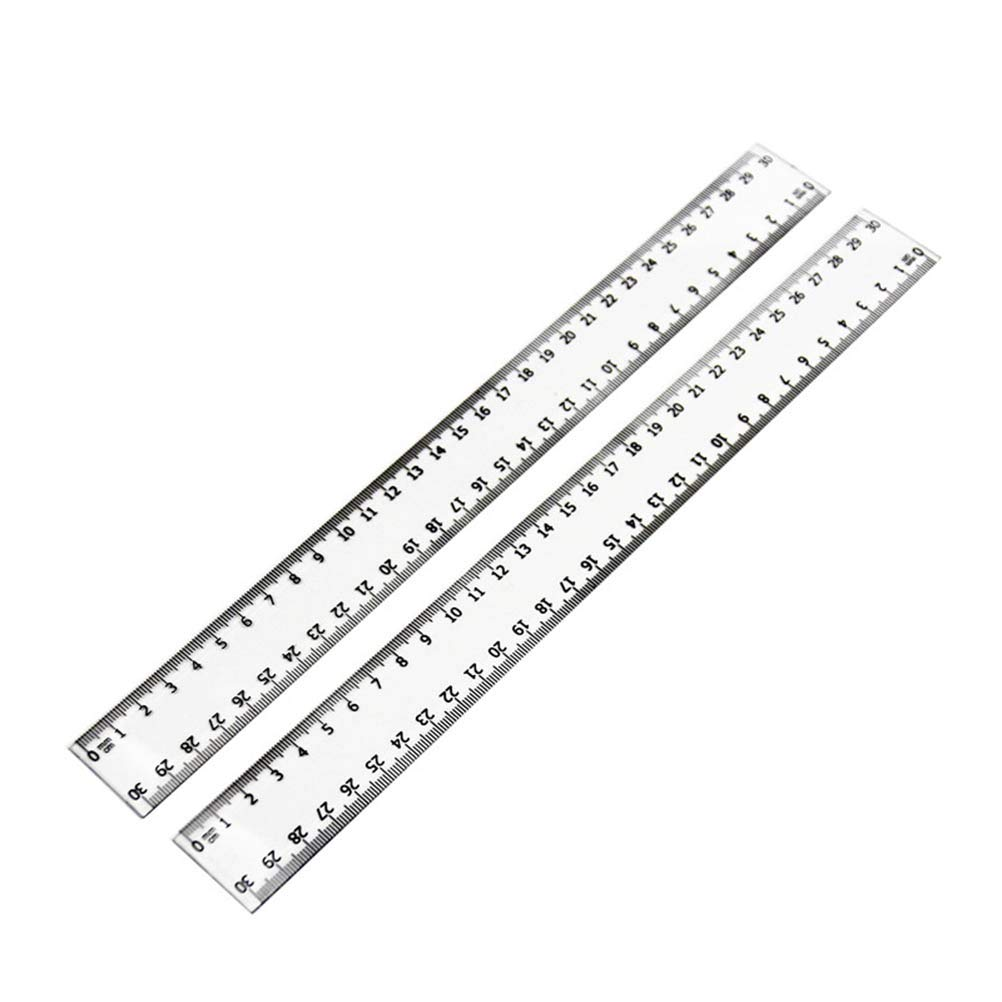 2pcs Transparent Plastic Straight Ruler Student Drawing Measuring Rulers 30cm Teaching Tools Office Supplies